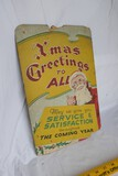 Antique Hand Painted Christmas Greetings store sign