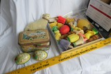 Tin eggs, small box with handles, toy lamp PLUS