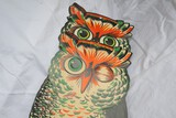 Two Vintage Halloween Owl Cut Out wall hangings