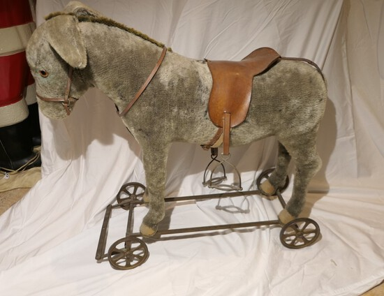 Large Antique German Stuffed Donkey Ride On Toy