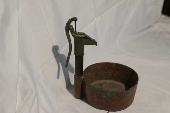 Unusual Antique Toy Well Pump and Basin