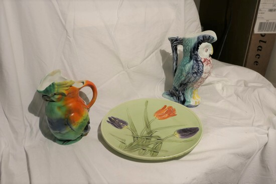 Group lot 3 pieces of Majolica Pottery Including Owl