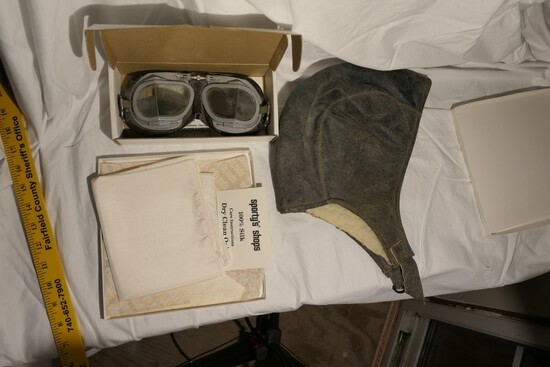 Group Lot Aviator Items - Goggles, Hat, Scarf