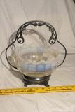 Victorian Vaseline Glass Edge Scalloped edge bowl in holder