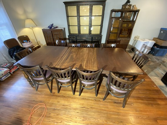 Large sized dining table plus chairs