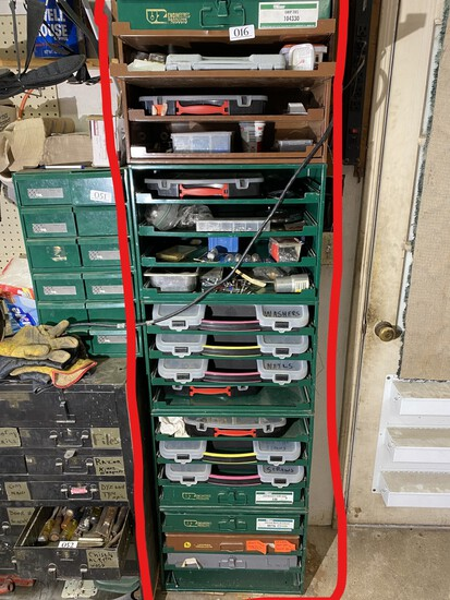 Large parts sorter cabinet and contents