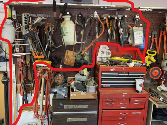 Large lot assorted tools on wall