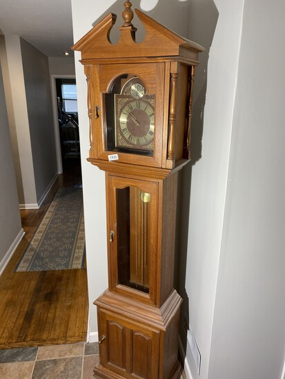 Large Vintage Oak Grandfather Tall Case Clock