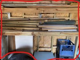 Wall cleanout lot with lumber