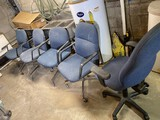 Group of 5 Padded office chairs