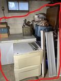 Chest Freezer, bins, plumbing parts in totes etc