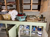 Counter, cabinets contents lot - Vice, Oiler etc