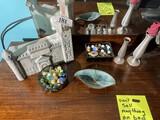 Marbles, ceramics, vases, decanter lot