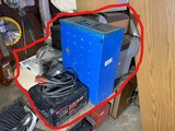 Charger, parts sorter cabinet, stereos etc lot