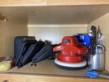 Shelf lot - Buffer, paint sprayer, telephone line test items, Dremel etc