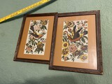 Pair of framed decorative fabrics
