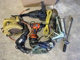 Group lot of assorted tools in garage