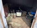 Contents of shed - mowers, gas cans, tank etc