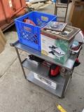 Contents of metal cart lot, tile, frame etc, USMC glasses etc