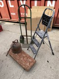 Dolly, cart, gas can, step stool lot