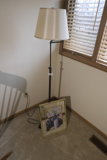Floor lamp and framed decorative picture