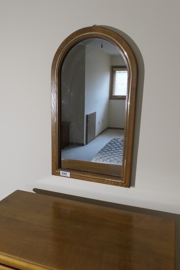 Oak mirror with gold trim