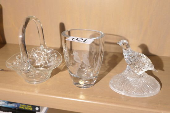 Group lot of clear glass, crystal