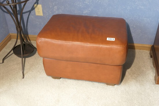 Vintage Italian Leather Footstool