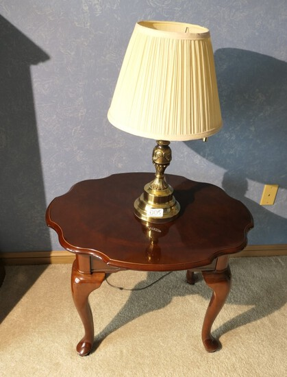 Queen Anne Style Lamp Table and Brass Lamp