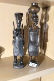 2 Carved Ebony African Statues Man, woman