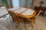 Oak tiled table PLUS four oak chairs