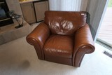 Nice Vintage Italian Leather Overstuffed Chair.