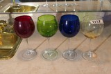 Group of 4 multi-color glasses or goblets