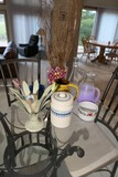Group lot assorted items on table - glass etc