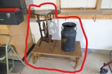 Antique Dairymen's League milk jug, light stand, table