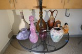 Group lot assorted pottery, glass