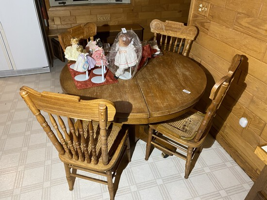 Antique Oak Kitchen Table & Chairs