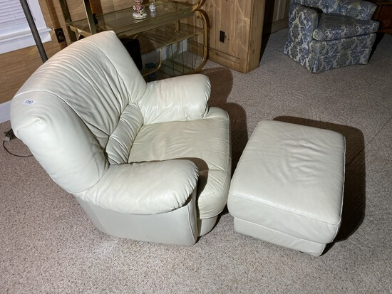 Vintage Italian White Leather Lounge Chair and Footstool