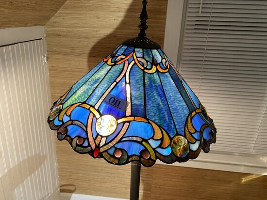 Vintage Stained Glass Style Floor Lamp