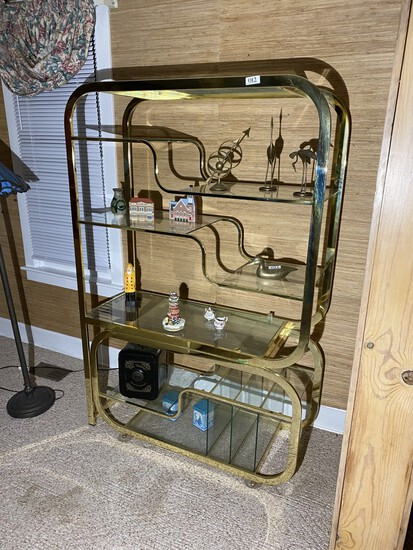 Vintage Milo Baughman Brass Modular Shelf Etagere Unit