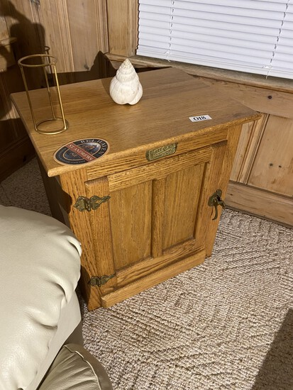 Vintage White Clad Ice Box Style Oak Cabinet