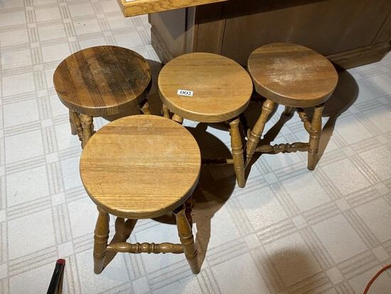 Group lot of four ow wooden stools