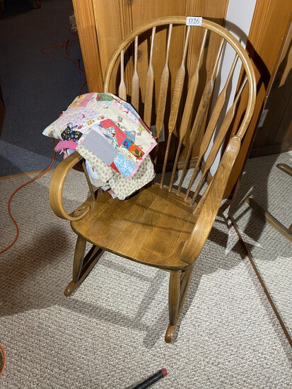 Antique Oak Rocking Chair with small quilts