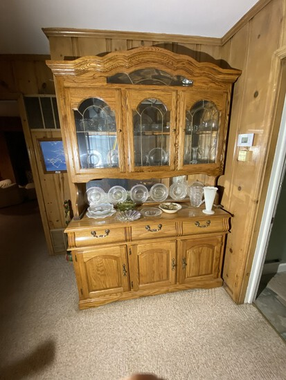 Large vintage two piece lighted hutch