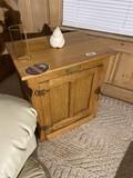 Vintage White Clad Ice Box Style Oak Cabinet