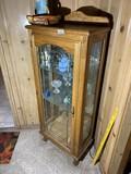Vintage Oak wood Curio Cabinet