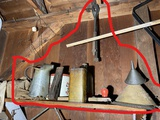Shelf lot of antique garage items inc. advertising tin