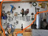 Assorted Garage tools on wall