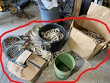 Large lot assorted marine, utility rope, chains etc