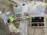 Lot of assorted fishing lures, accessories